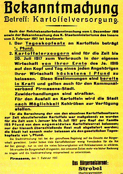 1917年2月にピルマゼンスで出されたジャガイモ供給に関する布告。