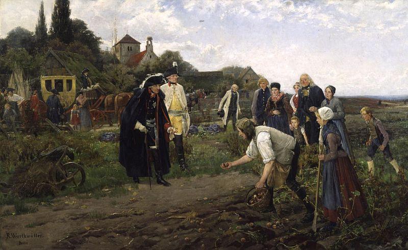 """1886年にロベルト・ヴァルトミュラーが描いた絵画 """"Der König überall"""" (王はあらゆるところに)。フリードリヒ大王がジャガイモの収穫を視察する様子を描いている。"""