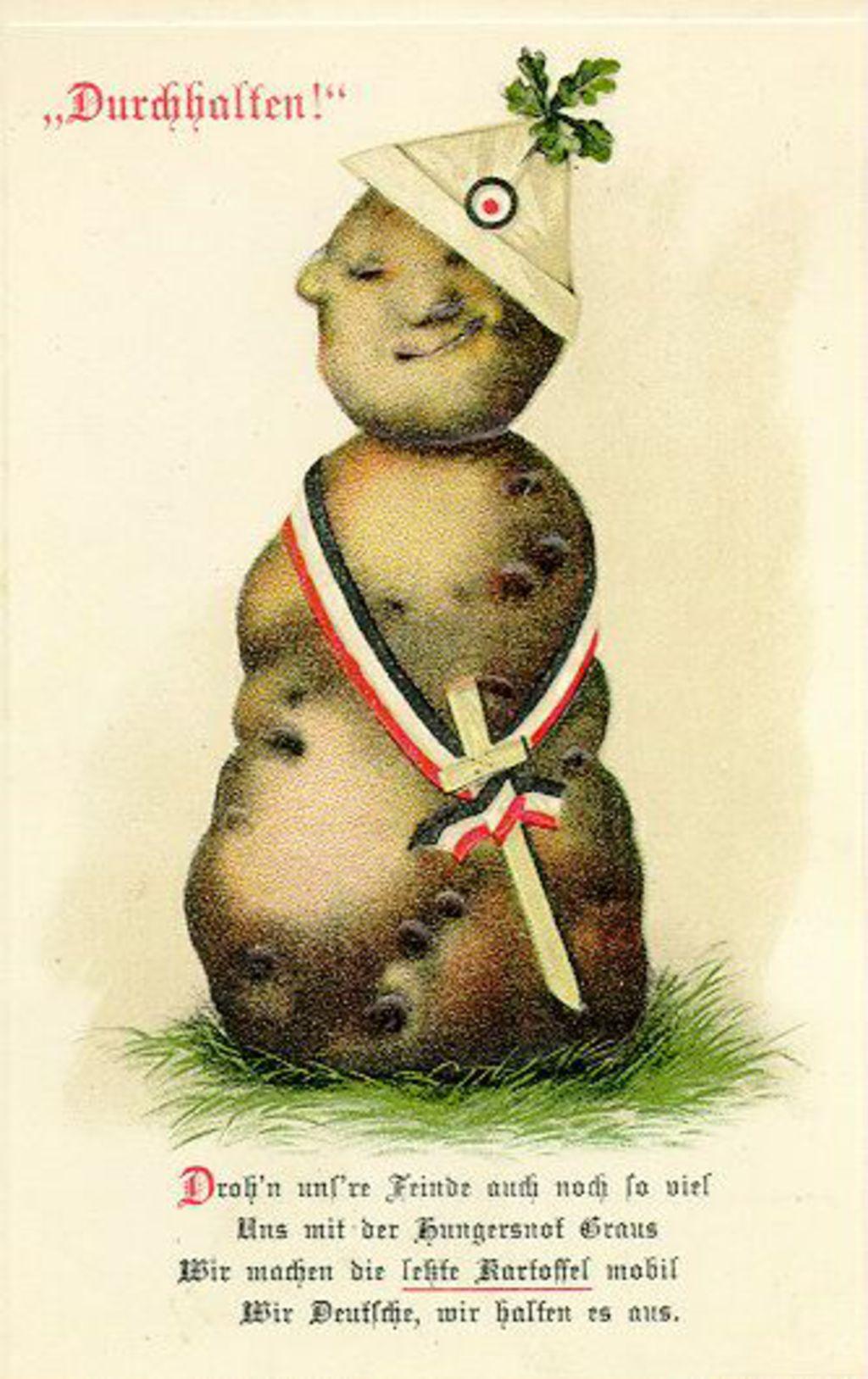 """Durchhaltenl""(耐えぬけ!)と書かれた第一次世界大戦中のドイツのプロパガンダ用のポスター。ジャガイモが兵士のように描かれている。"