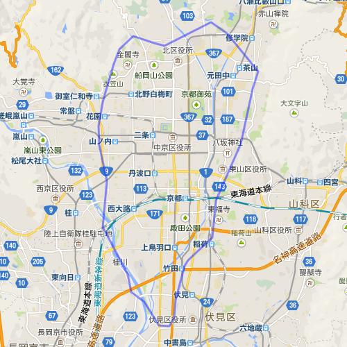 東京の山手線の範囲を京都に重ねたもの。南北方向で言えば、修学院のあたりから伏見に至るまでの範囲であることが分かる。