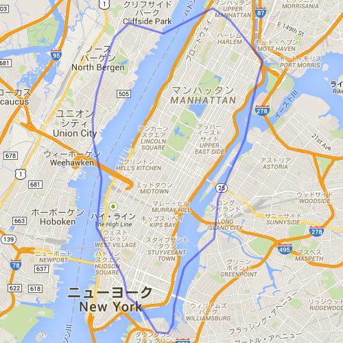 東京の山手線の範囲をニューヨークのマンハッタン島に重ねたもの。山手線の範囲とマンハッタン島の大きさはほぼ同じである。