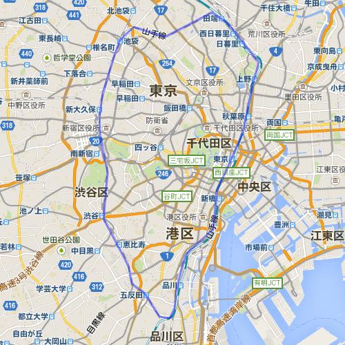 1枚目の地図において、東京の山手線の範囲を囲ったもの。この範囲が2枚目の地図にも出てくる。