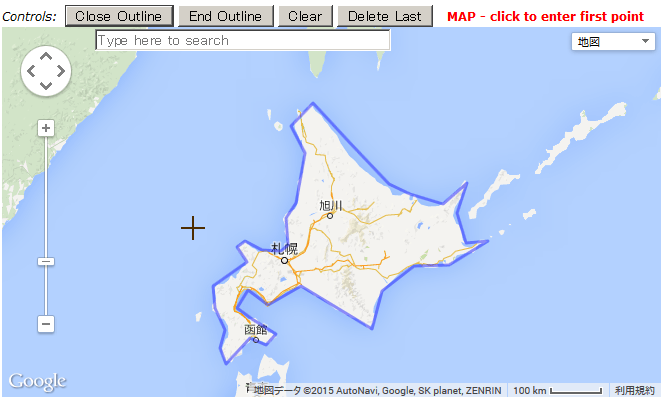 1枚目の地図上で、北海道を囲み終えたもの。