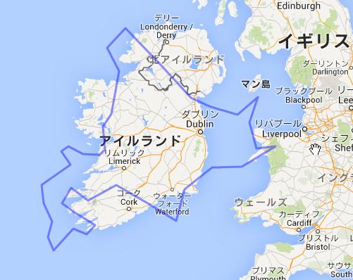 アイルランドに北海道を重ねたもの。
