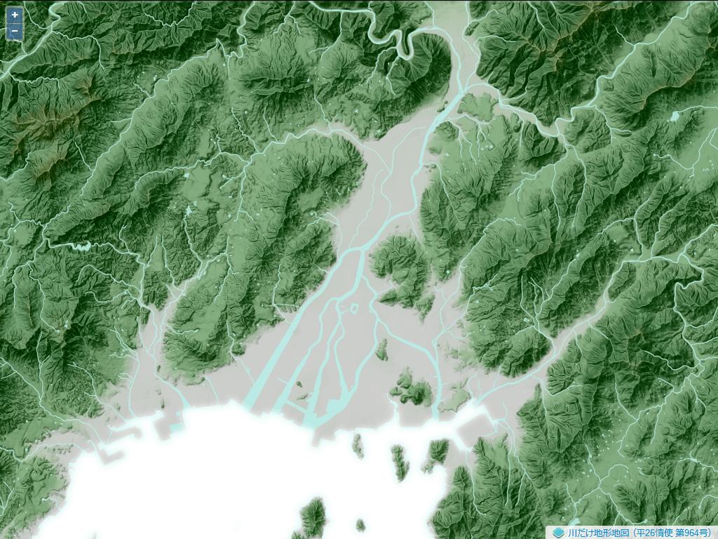 広島の太田川の河口に形成された三角州。広島市の市街地はこの三角州の上にある。