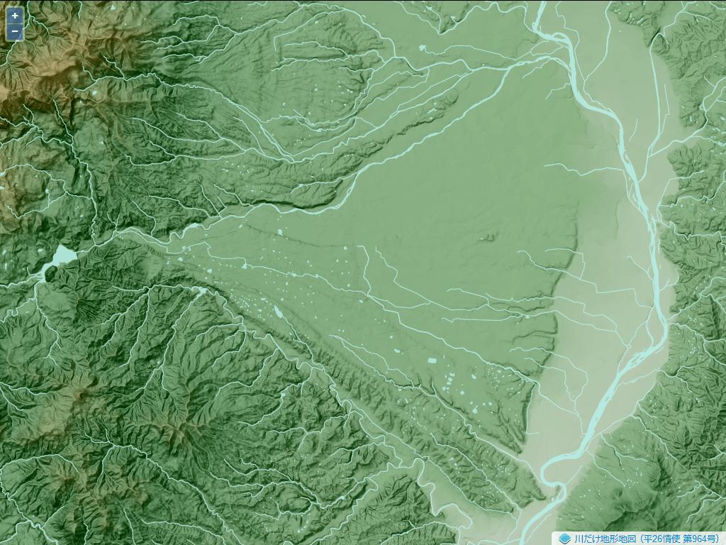 胆沢扇状地。岩手県南部の胆沢川流域にある。地図の西側にあるのが奥羽山脈で、この山地から東に向かって流れ出た河川によって扇状地が形成されている。