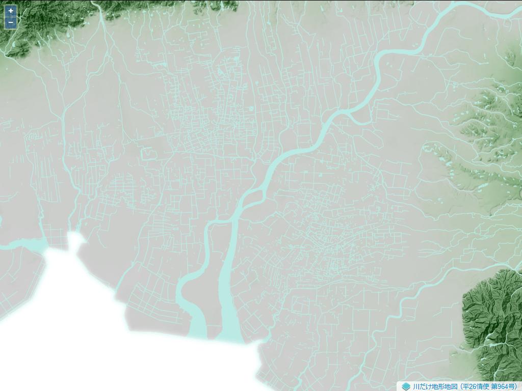 佐賀平野。この平野は筑後川によって形成された沖積平野である。北東から南に向かって流れる大きな河川が筑後川である。地図上には網目状の水路が表示されている。これはクリークと呼ばれる農業用に作られた人工水路である。