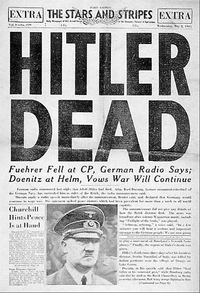 ヒトラーの死を報じる1945年の新聞