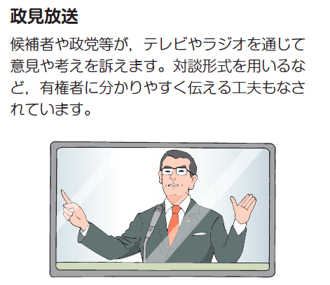 「候補者や政党の情報はこう集める!」と題されたページに書かれたイラスト。政見放送に映った政治家は男性である。