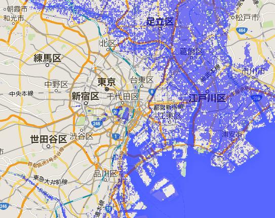 海面が 5 m 上昇したときに、東京で水没する範囲を示した地図。青くぬられているところが、水没する範囲になる。東京東部の荒川と江戸川にはさまれた地域は標高が低く、海面が上昇すると水没してしまう。西部は標高が高いので、海面が 5 m 上昇したとしてもほとんど水没しない。