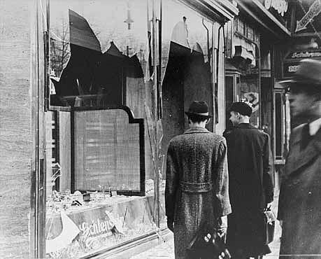 水晶の夜に破壊された商店。
