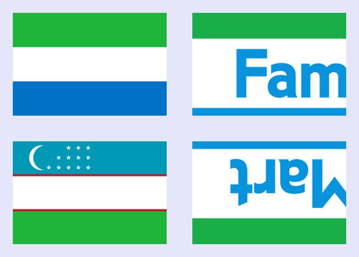 国旗とファミリーマートのロゴの比較。シエラレオネ共和国の国旗(左上)、ファミリーマートのロゴ(右上)、ウズベキスタン共和国の国旗(左下)、ファミリーマートのロゴを180度回転したもの(右下)。