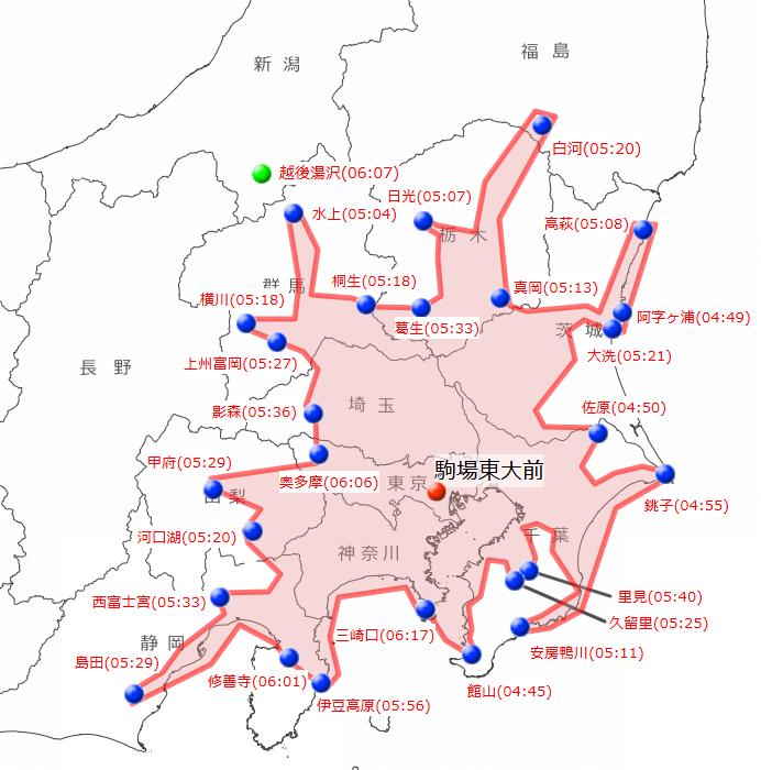 駒場東大前駅に午前8時25分までに着く範囲を示した地図