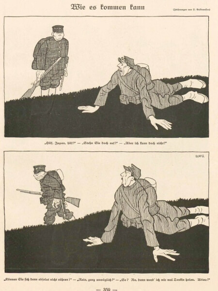 1914年9月15日(火)付けの『ジンプリツィシムス』に載った「どうそれが来られるというのか」(Wie es kommen kann) というタイトルの風刺画(Olaf Gulbransson による)。