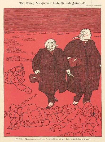 1914年9月8日(火)付けの『ジンプリツィシムス』に載った「デルカッセ氏とイズヴォリスキー氏の戦争」(Der Krieg der Herren Delcassé und Iswolski) というタイトルの風刺画(Olaf Gulbransson による)。