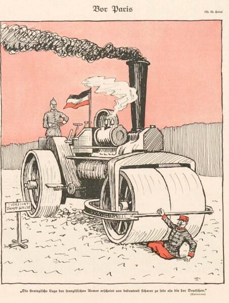 1914年9月15日(火)付けの『ジンプリツィシムス』に載った「パリの前で」(Vor Paris) というタイトルの風刺画(Thomas Theodor Heine による)。